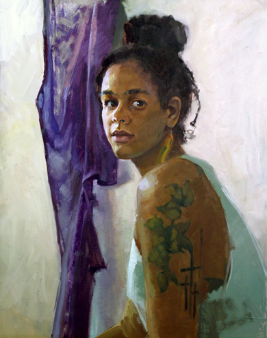 """Portrait of Lara"" Jenay Elder Oil on canvas 9"" x 12"""