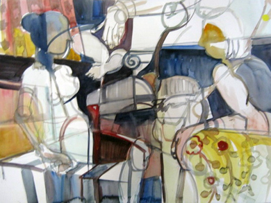 """Girl Talk"" Sylvia Miller Watercolor 36"" x 28"""